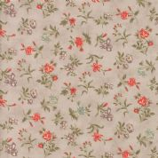 Moda Quill by 3 Sisters - 5607 - Blossom, Coral Floral on Pale Taupe - 44154 12 - Cotton Fabric